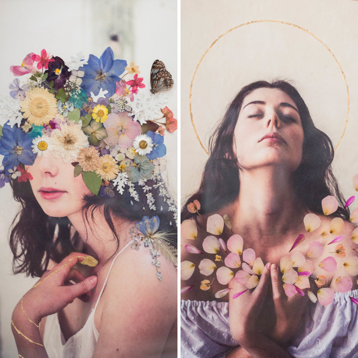 I Created Pressed Flower Portraits For Mental Health Awareness