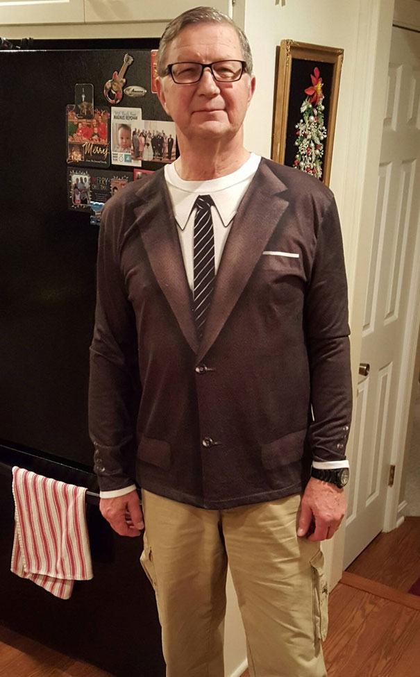 My Dad Showing Off His New Favorite T-Shirt For Christmas Dinner