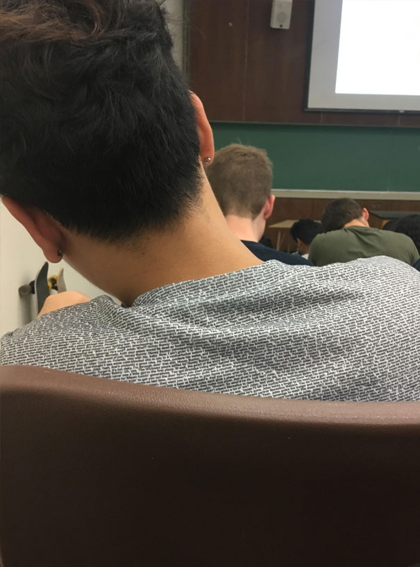This Guy's Shirt Has The Entire Script Of Pulp Fiction Printed On It