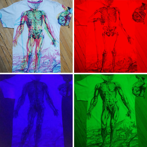 This T-Shirt Shows Different Layers Of The Human Body Depending On The Color Of The Lighting