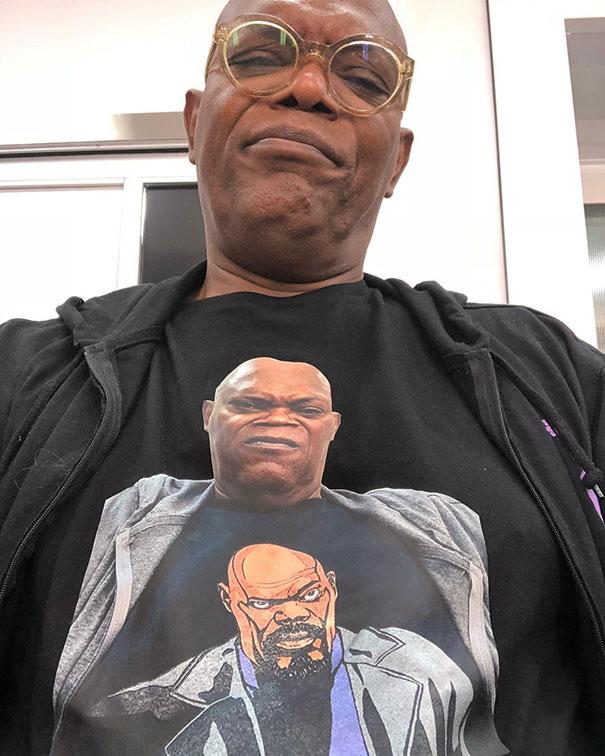 Samuel L. Jackson Wearing A T-Shirt Of Himself Wearing A T-Shirt Of Himself