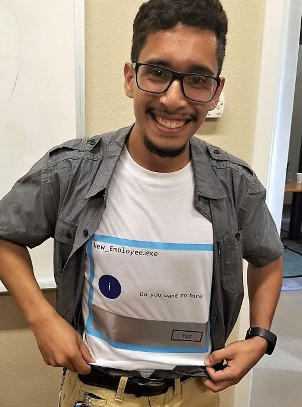 We Had A Candidate Interview For An IT Position Today. He Literally Designed And Printed This Shirt Because He Was Interviewing On Halloween! Needless To Say, We Hired Him