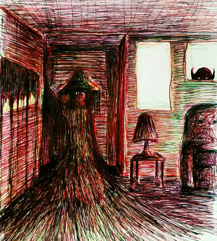 Uyku Paralizi Deneyimlerimden Birinin Çizimi