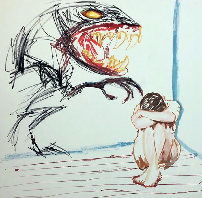 Sleep Disorders For Years. Terrified Of Shadow Things. Here's An Example I Drew Of What I Am Seeing When I Doze Off