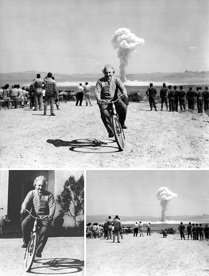 Einstein Riding A Bicycle As A-Bomb Explodes