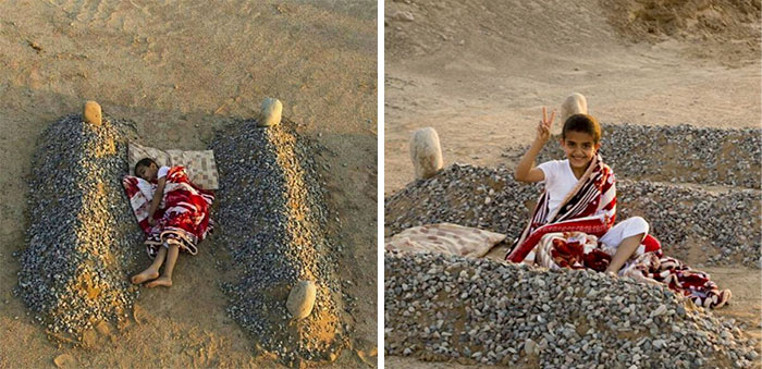 A Kid Sleeping Near His Deceased Parents' Graves In Syria