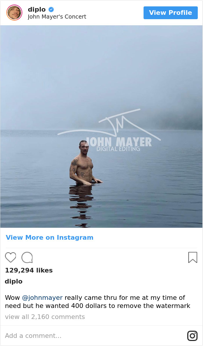 Diplo Complains About People 'Ruining' His Photo, So John Mayer Photoshops Them Out And Asks For $400