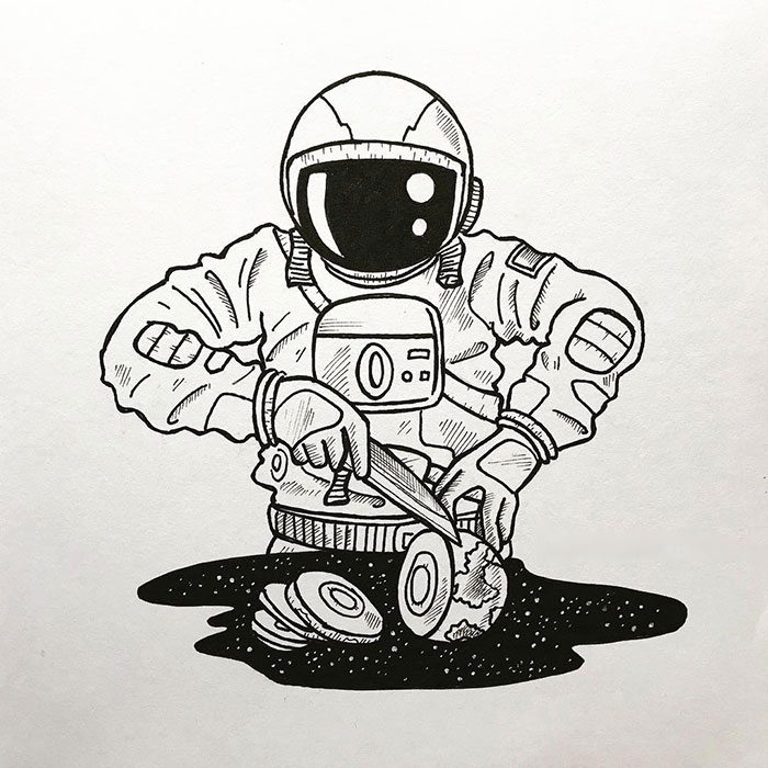 Artist Illustrates A Lonely Astronaut Wandering In Space (28 Pics)