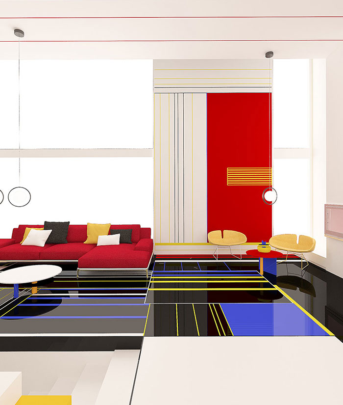 Bulgarian Designers Unveil The 'Aesthetic Apartment' That Looks Like A Piet Mondrian Painting