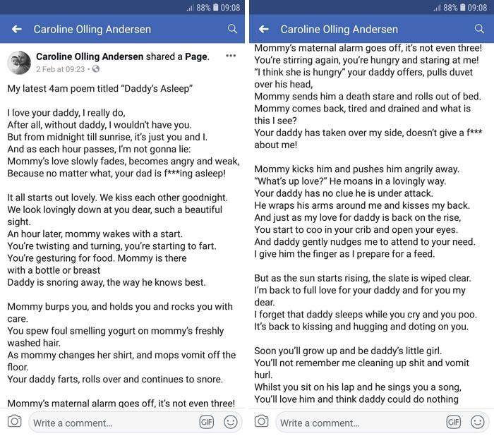 Esta madre escribió un honesto poema a las 4 de la mañana sobre su marido que duerme en vez de ayudar con el bebé