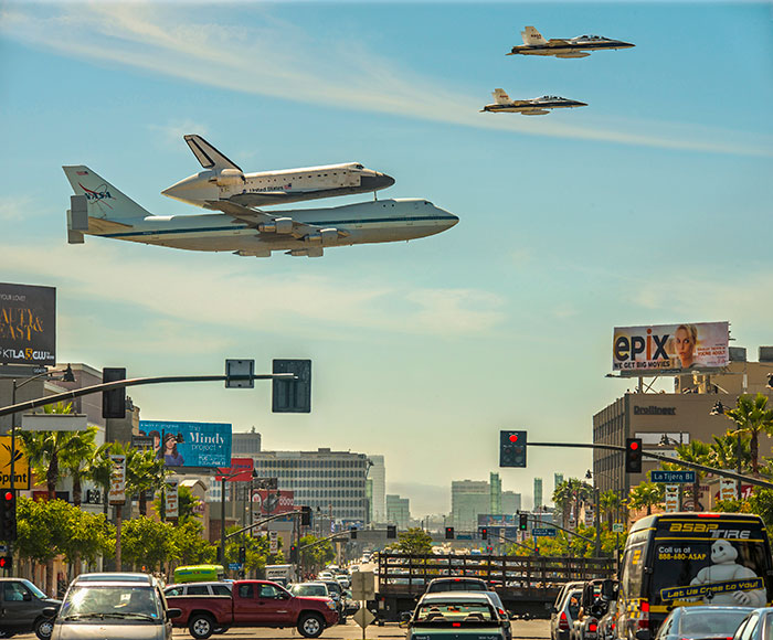 Space Shuttle Endeavor Landing At LAX With Escort In 2012 September