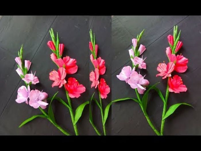How To Make Gladiolus Flowers With Paper | Paper Flowers Making Step By Step | Paper Flower Craft