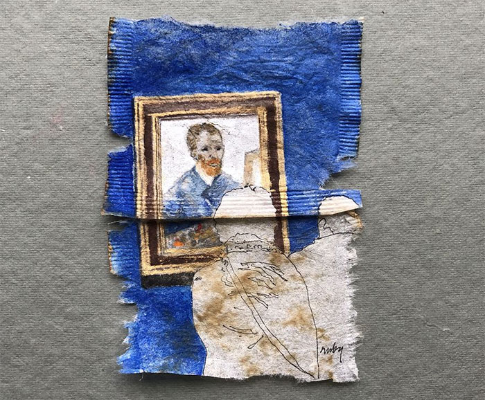 "I Paint ""Museum Goers"" On Used Tea Bags (19 Pics)"