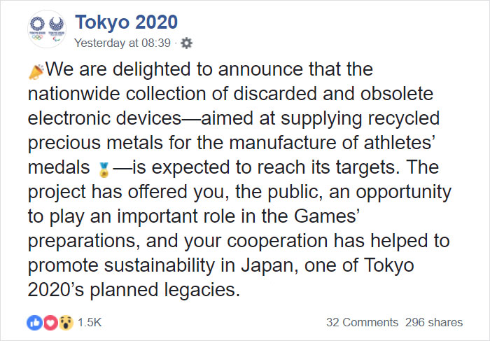 Japan Calls On Its Citizens To Help Collect Old Electronics To Create 100% Recycled Tokyo 2020 Medals