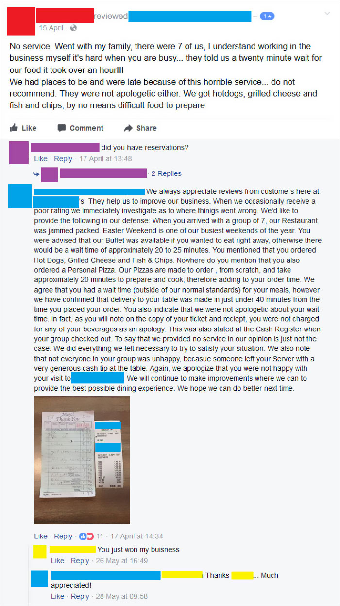 Local Restaurant Gets A Negative Review, Replies To Customer Calling Them Out And Providing Proof