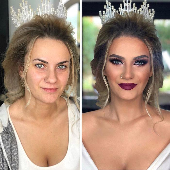 11 Photos Taken Before And After Brides Got Their Wedding Makeup