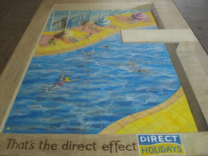 3D Chalk Art At Kings Cross Station