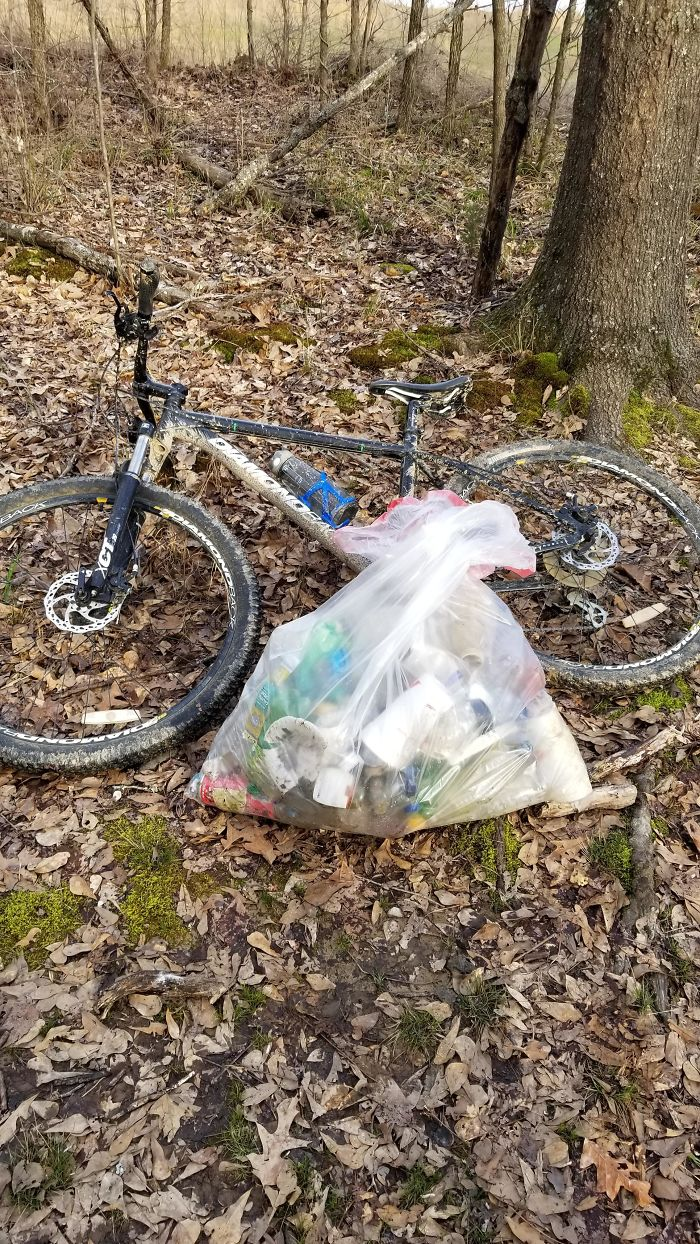 Took A Bike Ride Around A Local Park, Collected This In Just About An Hour. I Noticed So Much More Garbage Once O Started Looking For It, So I Plan On Going Back Tomorrow And The Next Day For More!