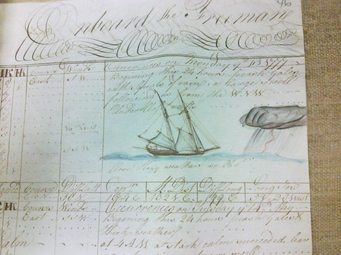 This Page From An Illustrated Captain's Log From 1777