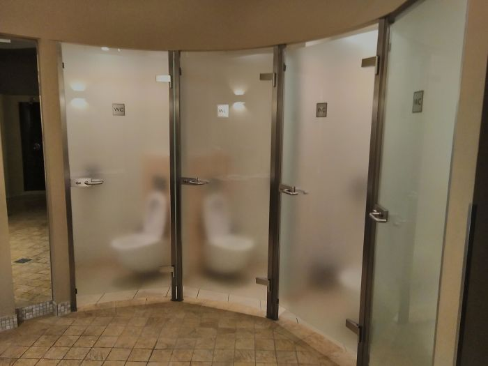 Super Awkward Semi-Transparent Bathroom Stall Doors