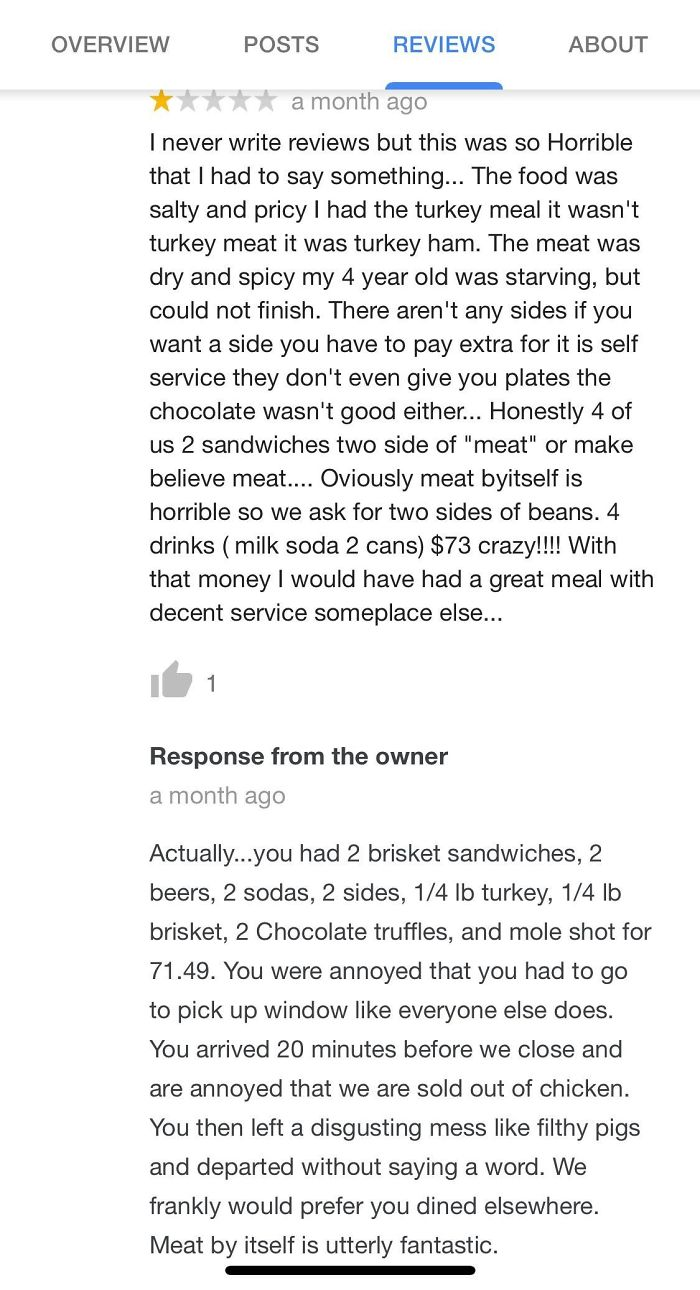 Lady Claims She She Spent $73 On Two Sandwhiches And Some Beans. Owner Looks Up Her Exact Order.