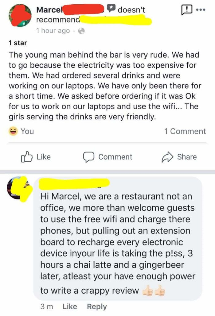 A Freedom Camper Gets Shitty Over The Fact That A Restaurant Asks Them To Leave... After They've Been Charging Their Devices For Three Hours And Bought Several (Read: Two) Beverages. Oh, And This Is On Boxing Day - One Of The Restaurant's Busiest Days.