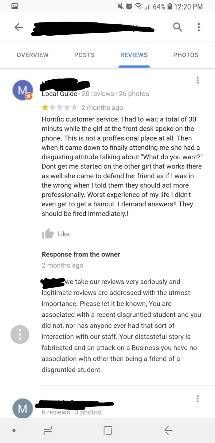 A Local Guide Made A Fake Review On A Barber School That Gives Haircuts Because He Was A Friend Of A Former Student That Dropped Out Of The School.