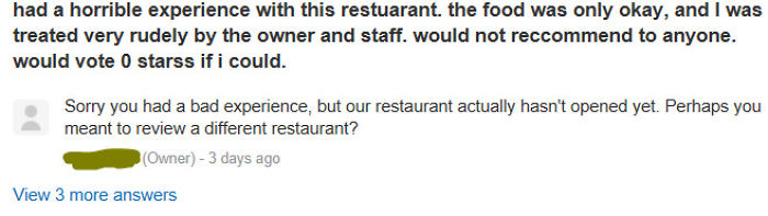 Bad Review On An Unopened Restaurant