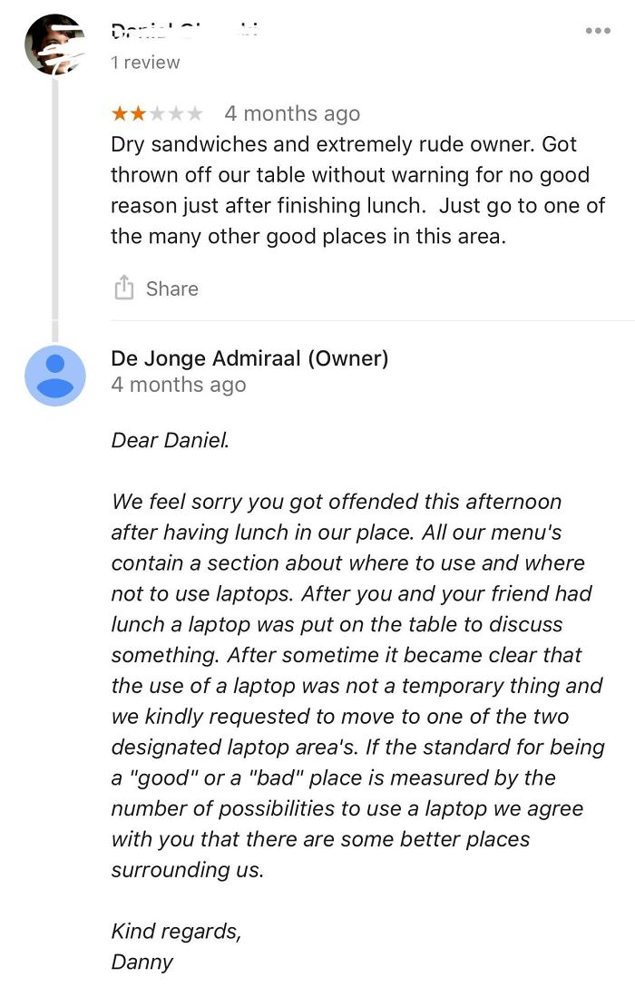 Patron With A Flair For Giving Cafes Low Ratings For Often Invalid Reasons Gets Called Out (Very Politely) By The Owner.