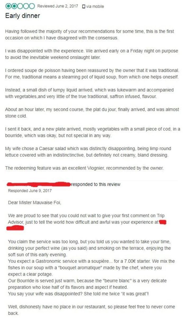 Restaurant Responds To Poor Review