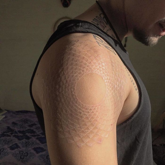 Fractal White Ink Tattoo