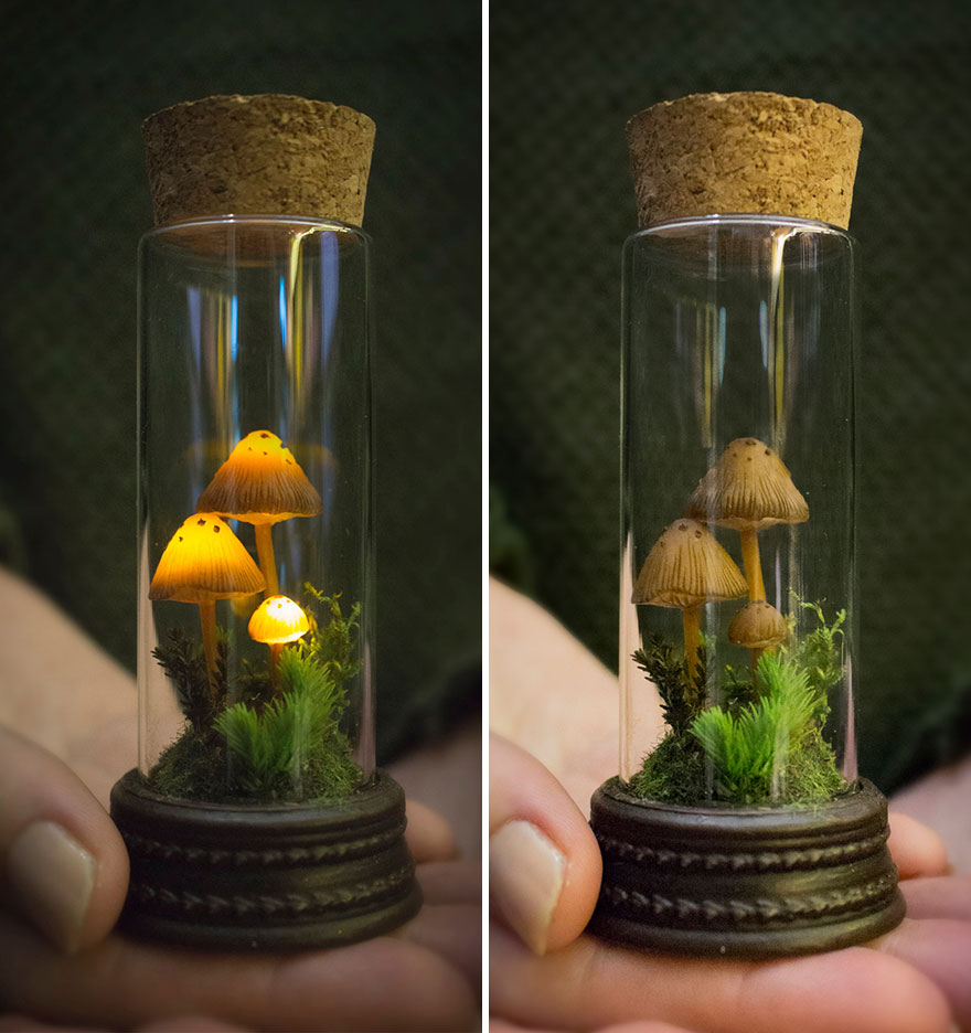 Miniature Night Light - Mushrooms In Glass Vial