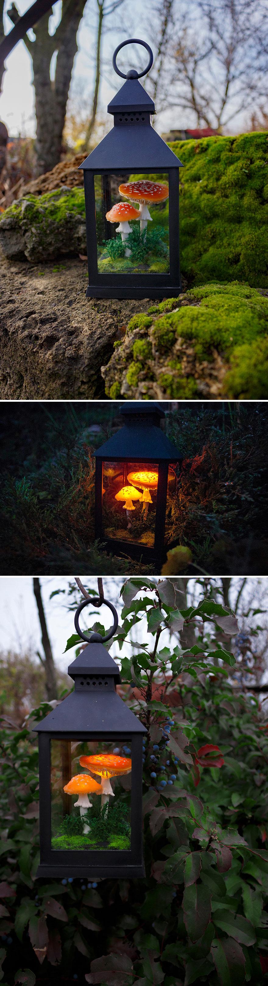 Red Amanita Mushrooms In Black Lantern Night Light