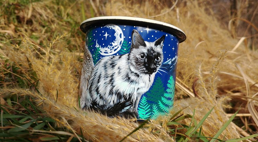 Travel Enamel Mug With A Cat In Mountain Scene