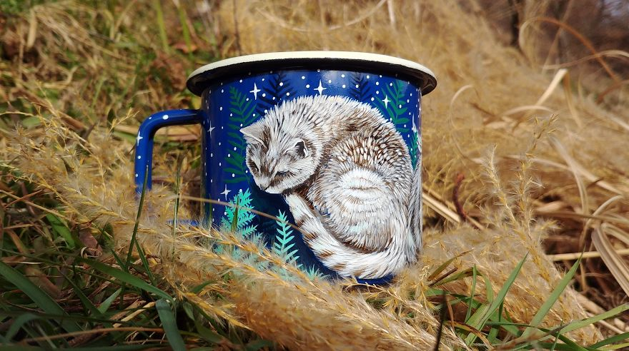 Traveler's Enamel Cup With Hand Painted Cat In The Fern Meadow