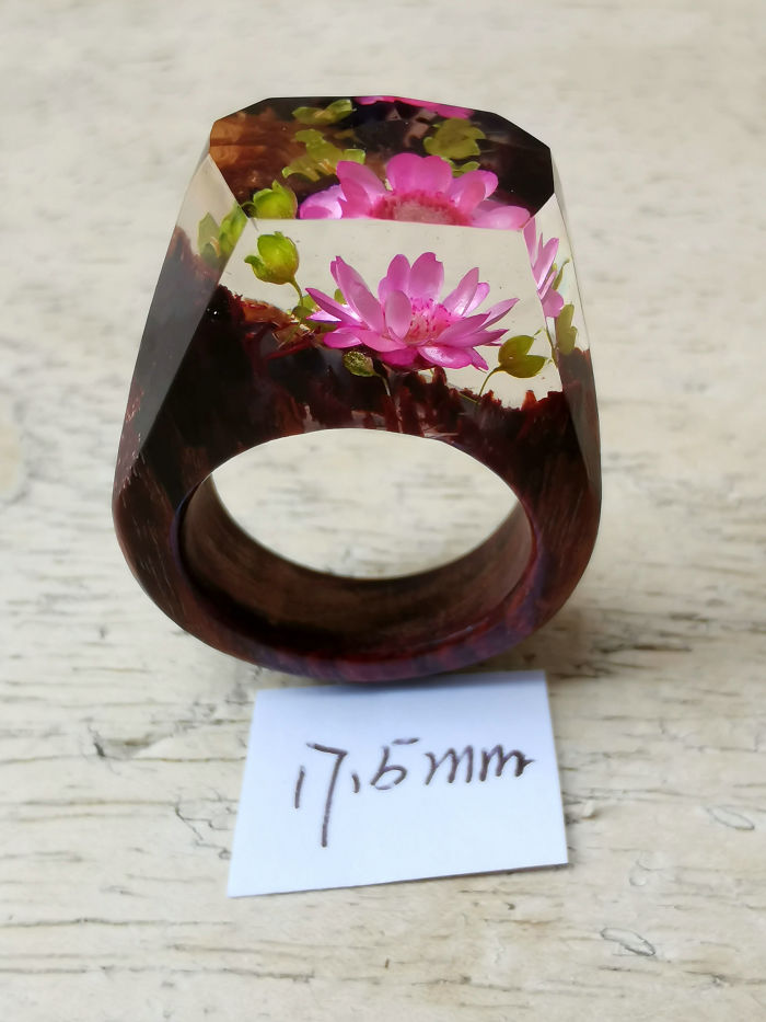 Handcrafted Wood Resin Ring |magical Miniature Landscapes Ring