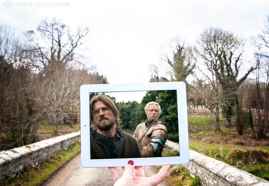Jaime And Brienne Cross A Bridge And Start Fighting On Location In Northern Ireland