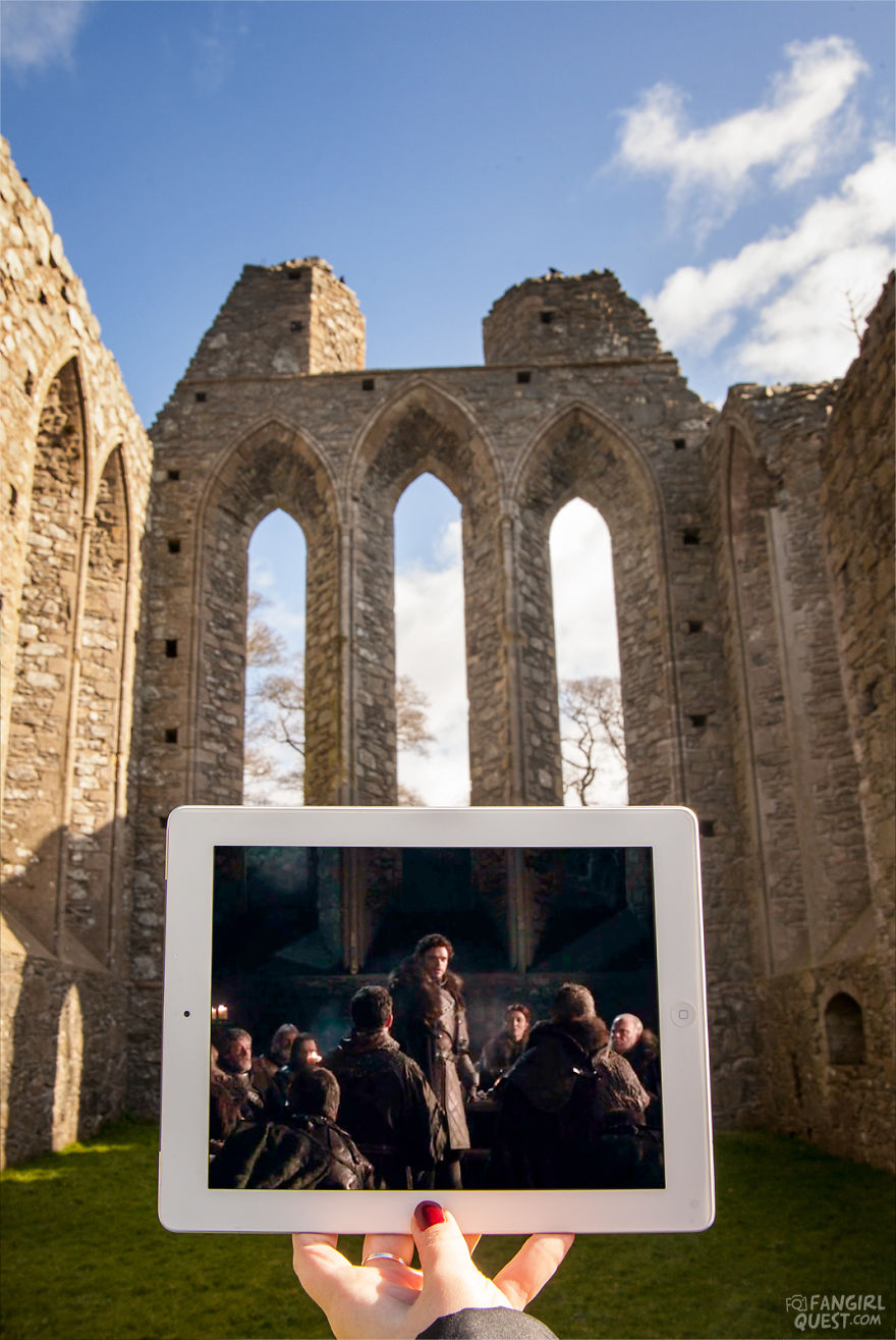 King In The North! Robb Stark (Richard Madden) Speaks To His Men On Game Of Thrones Location At Inch Abbey, Northern Ireland