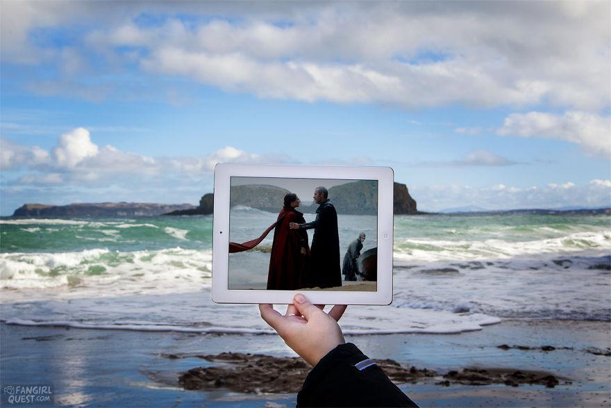 The Red Woman (Carice Van Houten) Talks With Stannis Baratheon (Stephen Dillane) On Game Of Thrones Location Near Ballintoy Harbour, Northern Ireland