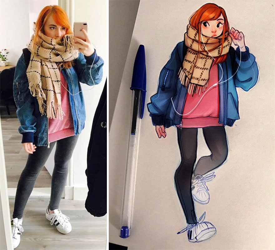 The Dutch Artist Transforms Girls Into Adorable Cartoons And Her Work Conquers Millions Of Followers