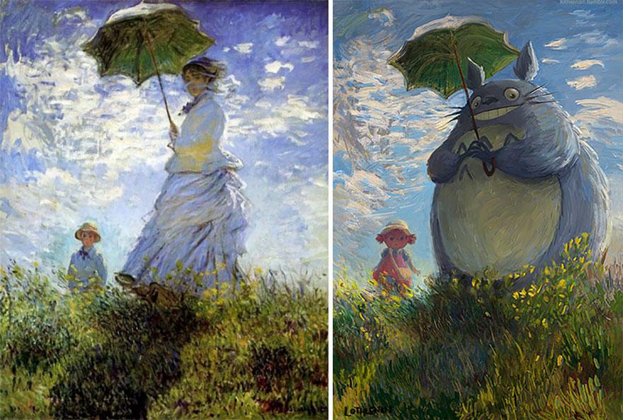 Woman With A Parasol (Claude Monet) As Chu Totoro