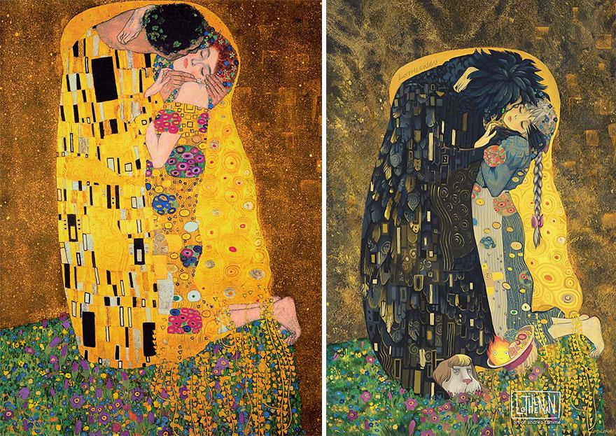 The Kiss (Gustav Klimt) As Sophie And Howl