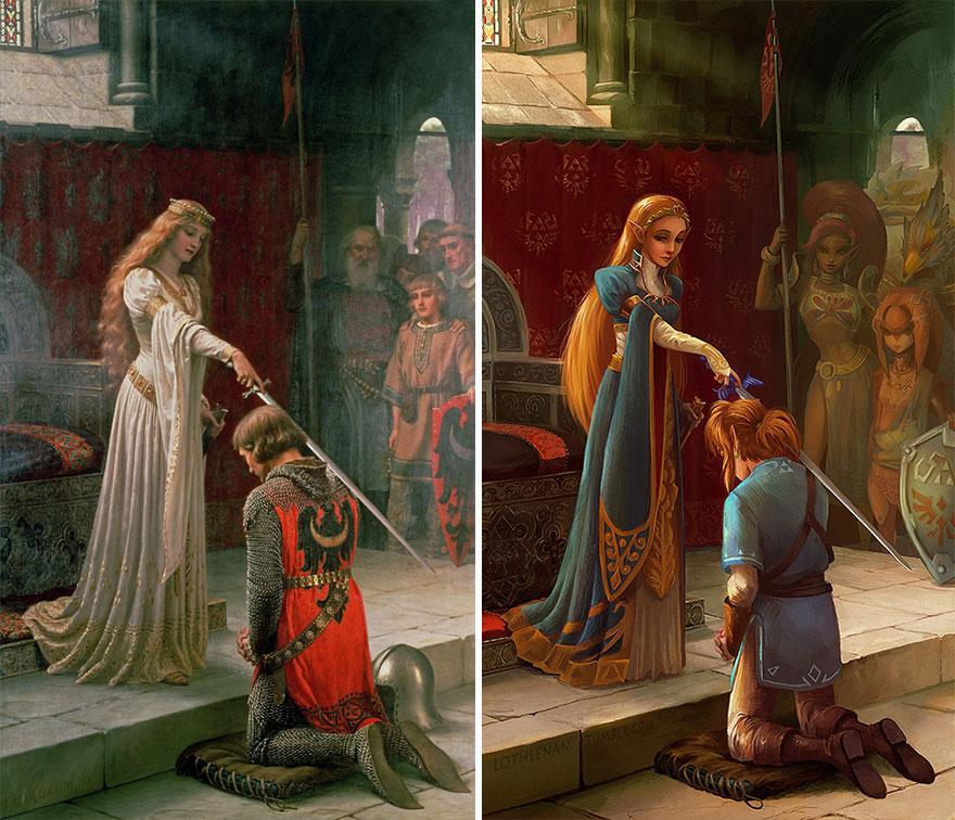 The Accolade (Edmund Leighton) As Link And Princess Zelda