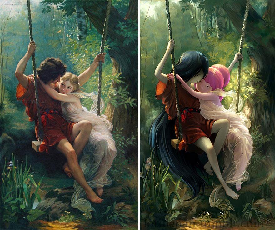 Le Printemps (Pierre Auguste Cot) As Princess Bubblegum And Marceline
