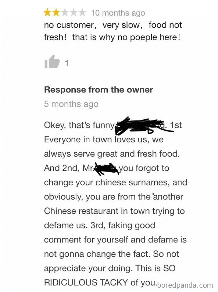 Rival Chinese Restaurant Called Out Leaving A Review