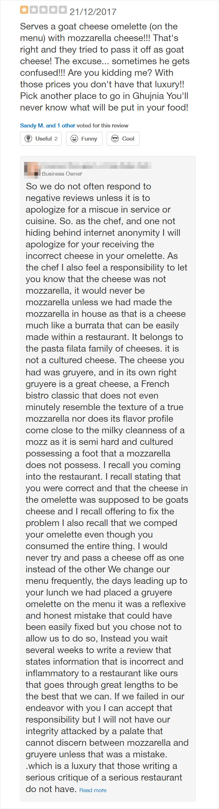 One Of My Favorite Restaurants Got A Bad Review And The Owner/Chef Called Them Out...