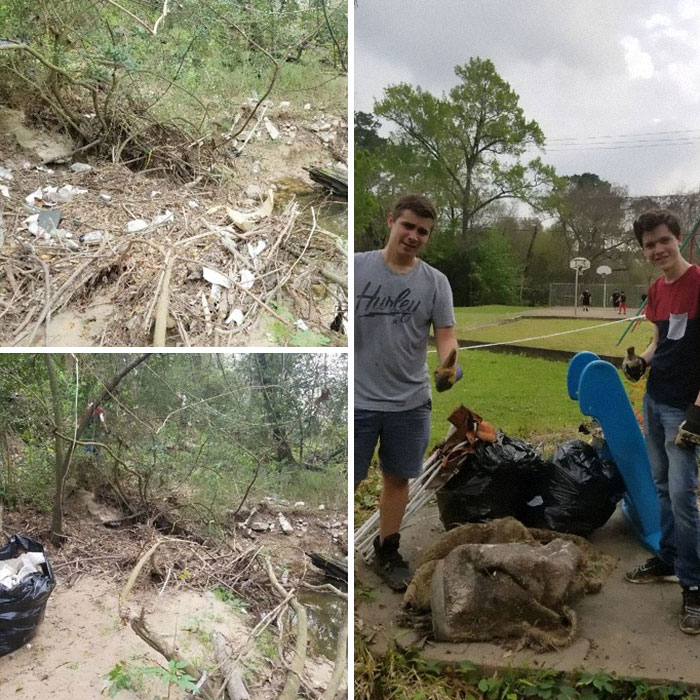Friend And I Took Some Time Today To Clean Our Local Park. Keep Our Bayou Clean! #trashtag