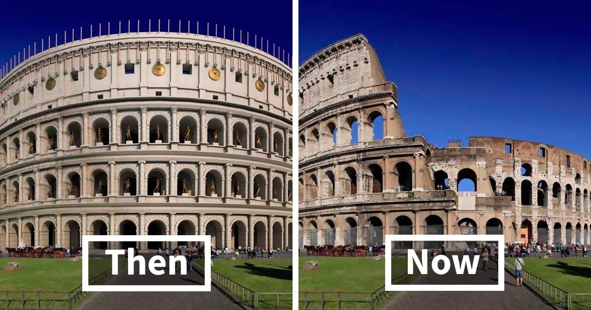 Así es como se veían estas 11 famosas estructuras romanas antiguas en el pasado y ahora