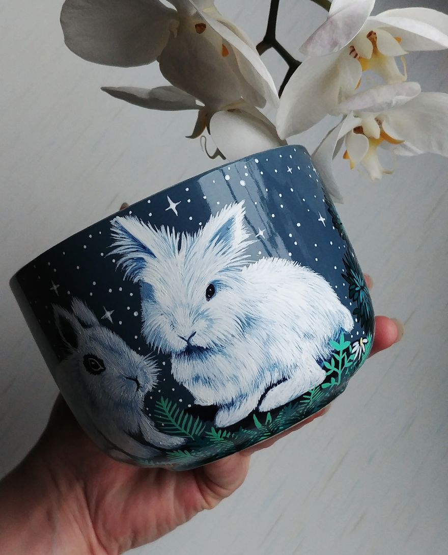 Personalised Pet Cup With Cute Bunnies