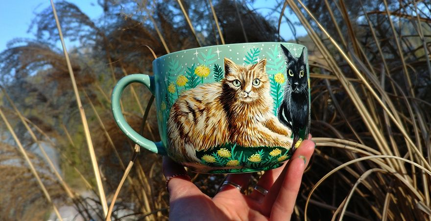 Cats In The Dandelion Meadow Painted On A Big Tea Cup